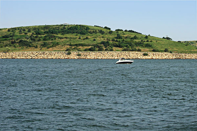 The North Drumlin of Spectacle Island, with views of Boston.