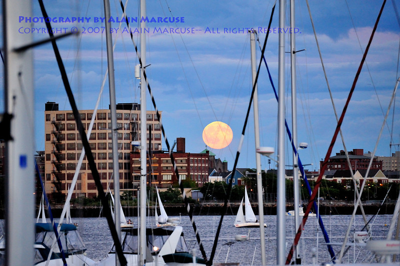 Harvest Moon rising from Tudor Wharf, Charlestown