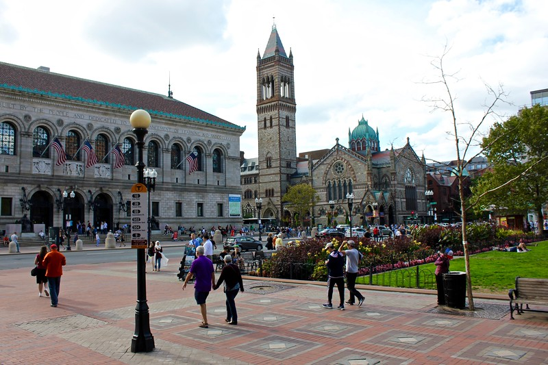 Boston Public Library and Old South Church in Copley Square in Boston, Massachusetts