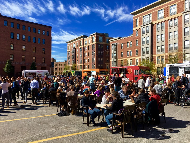 SoWa market food trucks in the South End of Boston, Massachusetts