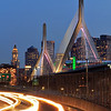 Zakim Bridge with Light Trails
