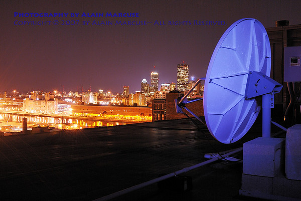Dishing out Boston! (30-second exposure with light painting on the dish)