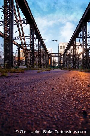 Boston Old Train Bridge Sunset
