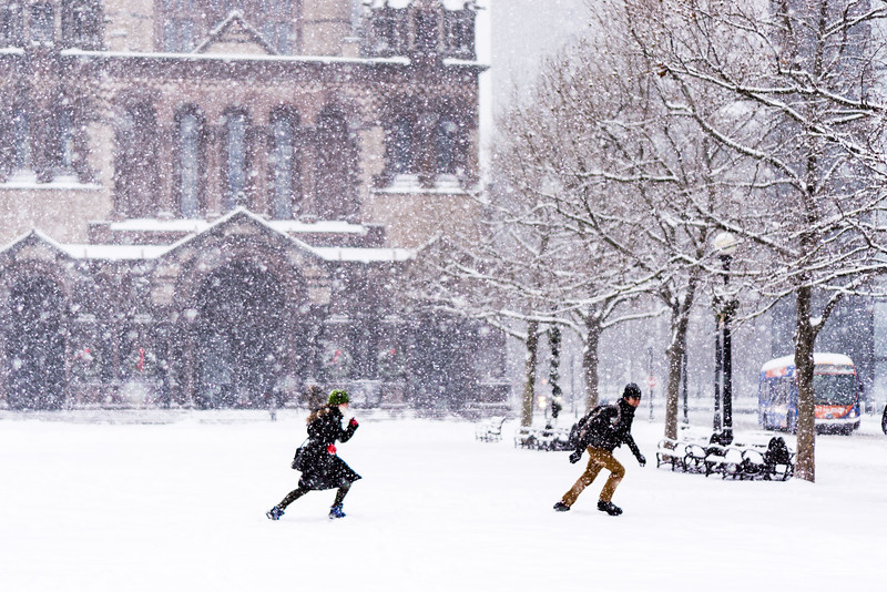Snowball Fight in Copley Square