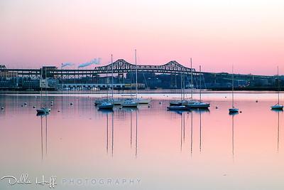 Dawn over Boston Harbor and the Tobin Bridge