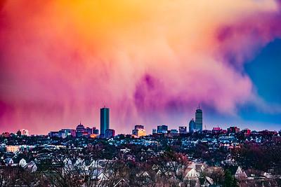 Boston Skyline Under Sunset Rainclouds 2