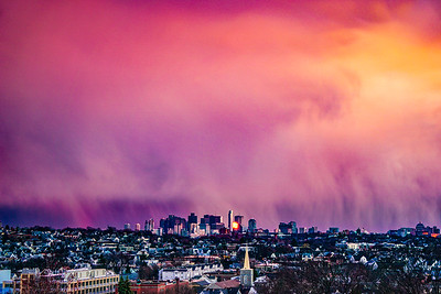 Boston Skyline Under Sunset Rainclouds