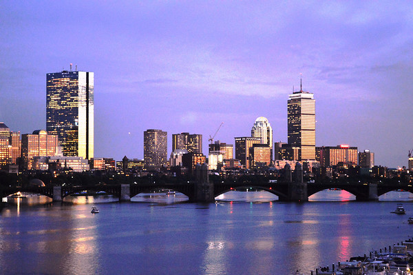 Boston Skyline  and the Charles river at sunset, Mass.