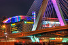 TD Garden and the Zakim Bridge in Pink