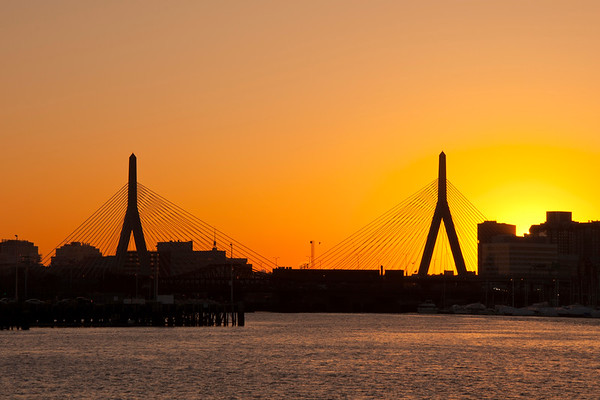 Sundown Over The Leonard P Zakim Bridge - Boston
