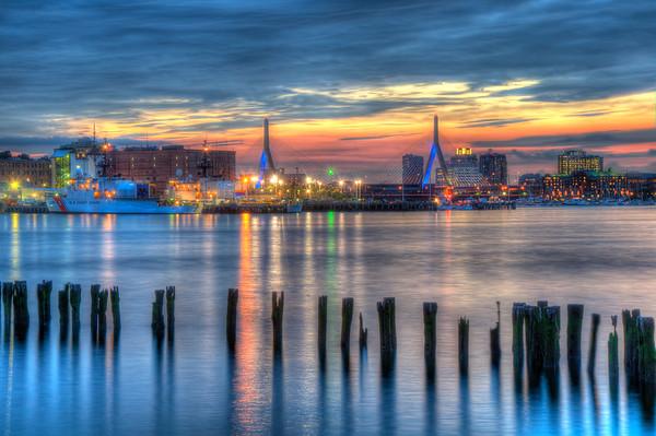 Sunset Over Zakim Bridge and Boston Harbor