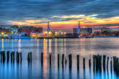 Sunset Over Zakim Bridge and Boston Harbor