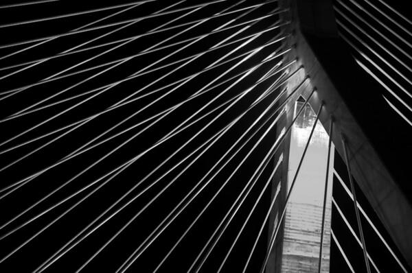 Leonard P Zakim Bridge 3 - B&W