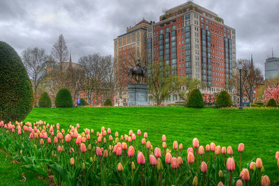 George Washington Statue in Spring