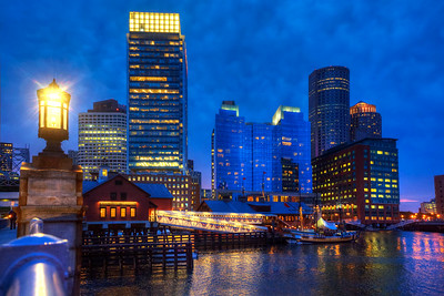 Boston Skyline and the Tea Party Museum