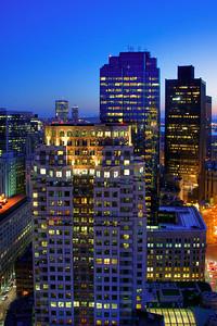Sunset Over Boston - Financial District Skyline