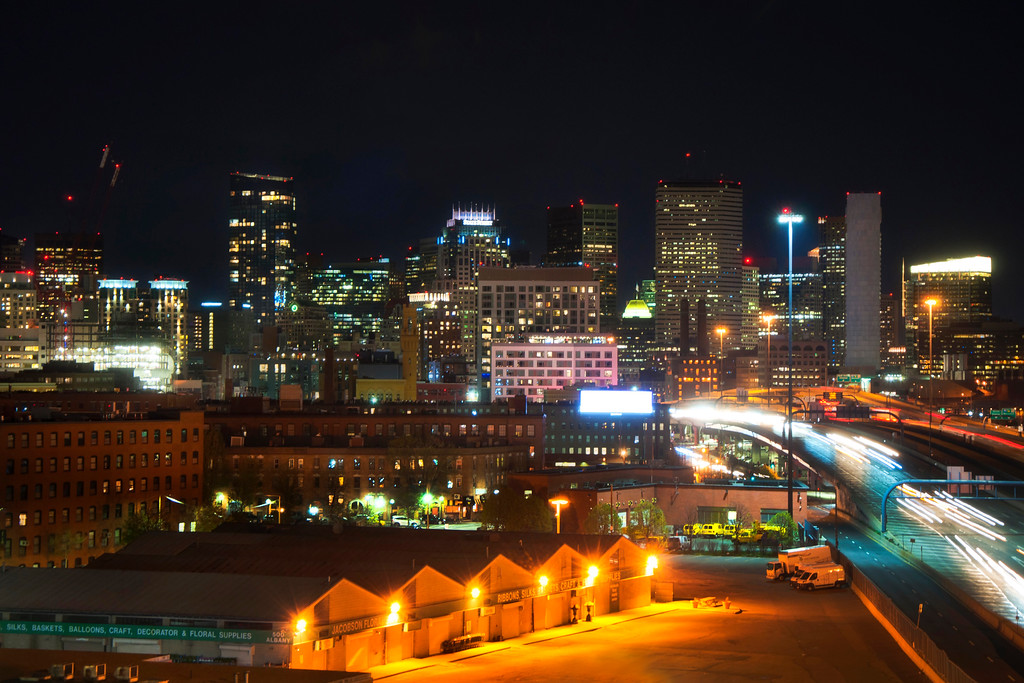 Boston Flower Exchange at Night - Boston Skyline