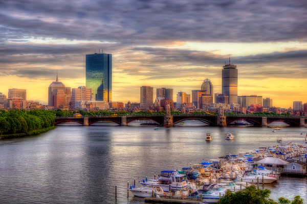 Boston Skyline Sunset