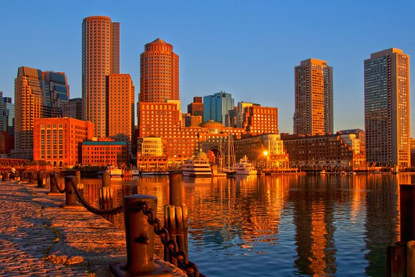 Golden Glow Over Boston Harbor