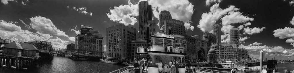 Boston Harbor Skyline - Black and White