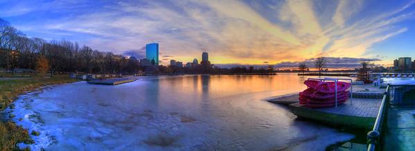 Frozen Charles River Sunset - Boston