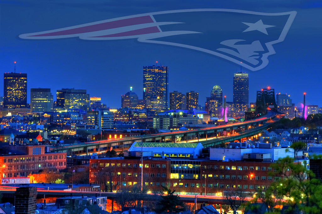 Boston Skyline and the New England Patriots