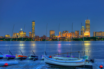 Boston Skyline of Back Bay at Night