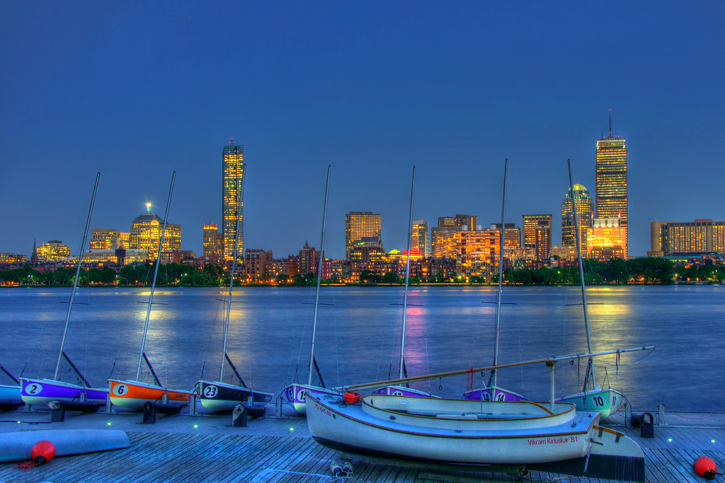 Boston Skyline of Back Bay at Night