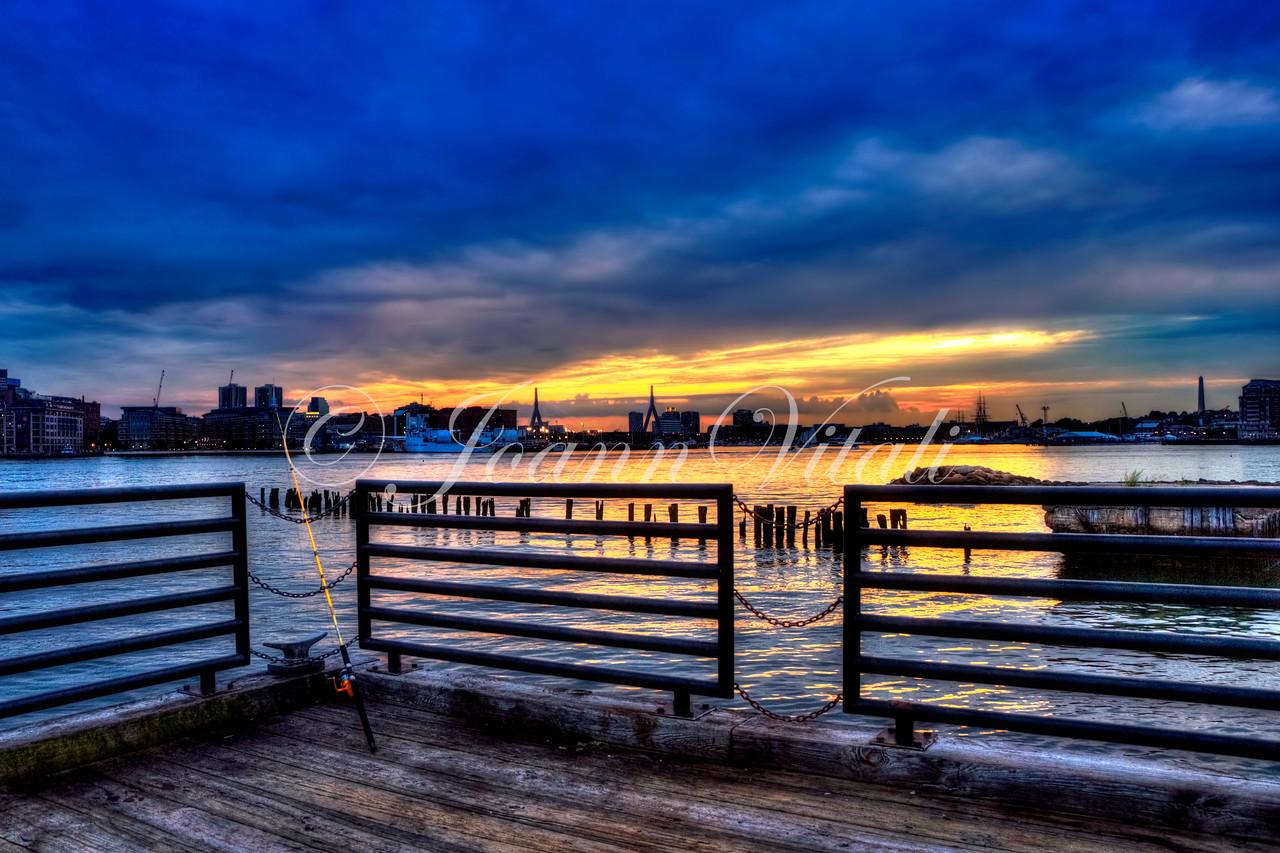 Boston Skyline from Piers Point Park in East Boston at Night.  Boston Art Photography by Joann Vitali
