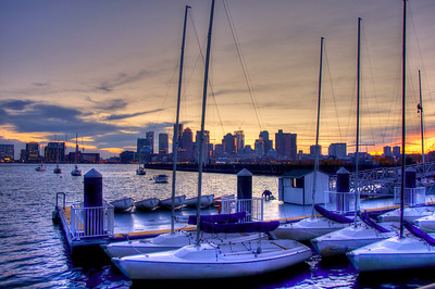 Boston Skyline from Piers Point Park in East Boston at Night.  Boston Art Photography by Joann Vitali