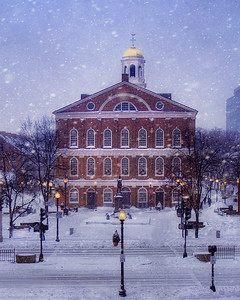 TO PURCHASE:  http://joann-vitali.artistwebsites.com/featured/faneuil-hall-holidays-joann-vitali.html  The snow is falling over a deserted Faneuil Hall during the first snowfall of the Holiday season.