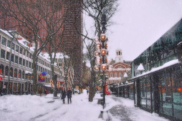 Faneuil Hall Winter Scene - Boston