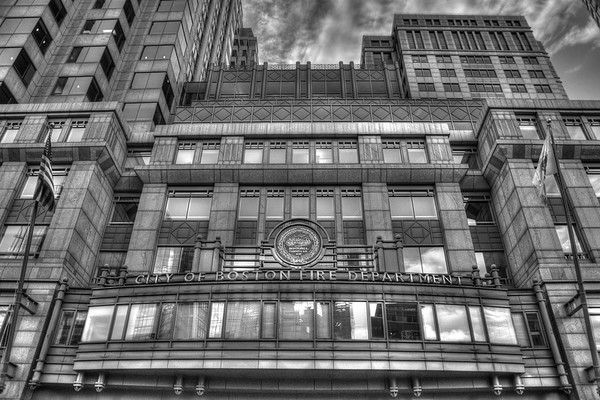 Boston Fire Department in Black and White