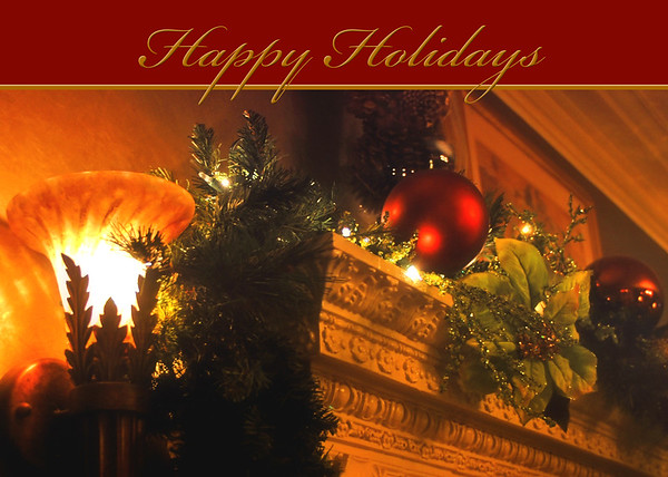 Happy Holidays Fireplace Mantel Card