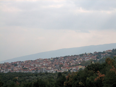 The town of Litochoro at the foot of Mount Olympus