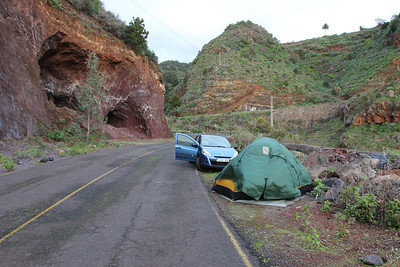 Our first campsite after our arrival in La Palma along the bypass of a tunnel