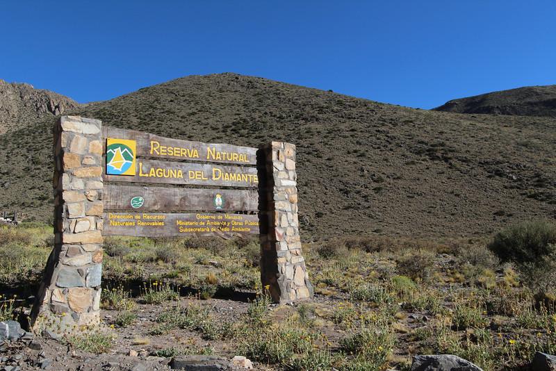 Entrance of Reserva Natural Laguna del Diamante