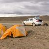 Our campsite along the acces road to PN Perito Moreno