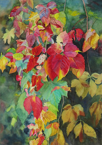 """Fall Cascade"" (watercolor) by Elizabeth Burin"