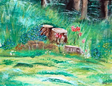 """BACKYARD BEAUTY"" (acrylic) by Donna Harp"