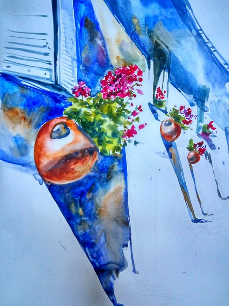 """""""Botanical Rhythm in Architecture"""" (watercolor) by Maria Zimina"""
