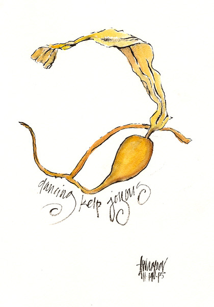 """Dancing Kelp"" (ink and watercolor) by Annette Wagner"