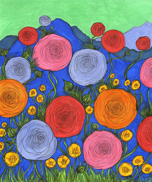 """""""Colors in the Blue Ridge Mountains"""" (colored ink) by Kellie Cox"""