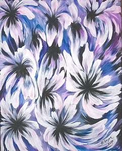 """Dancing Flowers"" (acrylic on canvas) by Stacey Geyer"