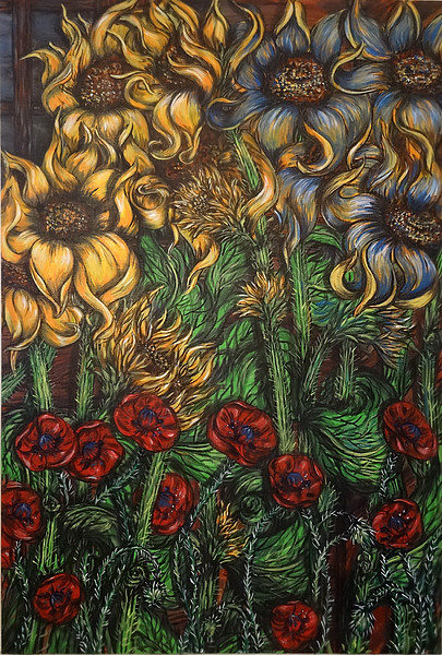 """""""Blue and yellow sunflowers"""" (acrylic on canvas) by Kellie Cox"""