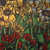 """Blue and yellow sunflowers"" (acrylic on canvas) by Kellie Cox"