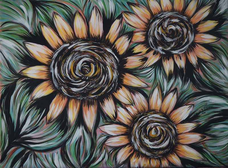 """Sunflowers"" (acrylic on canvas) by Denise Valentino"