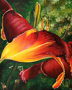"""Sun and Shade Lily"" (acrylic) by Gae Helton"