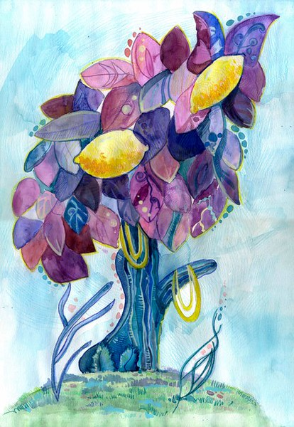 """Lemon fantasies"" (watercolor and watercolor pencils) by Politova Yulia"