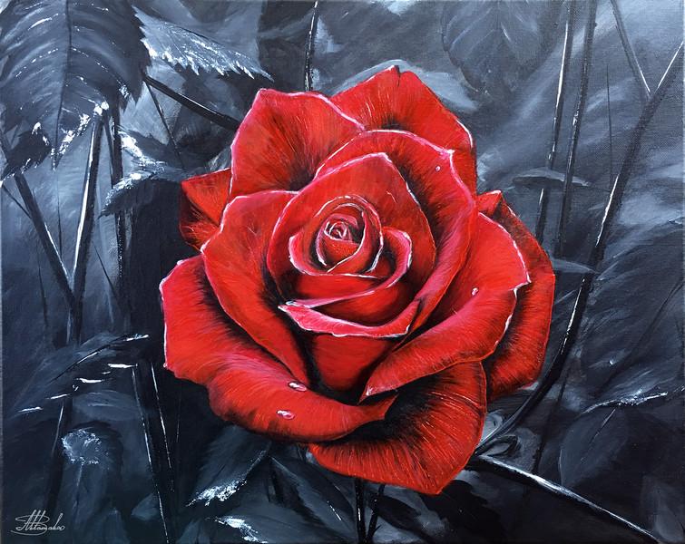 """""""Red of the night"""" (acrylic on canvas) by Bogdan Aktamakov"""
